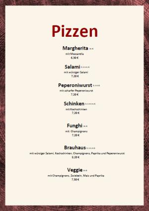 Pizzakarte Brauhaus Am See Thulba